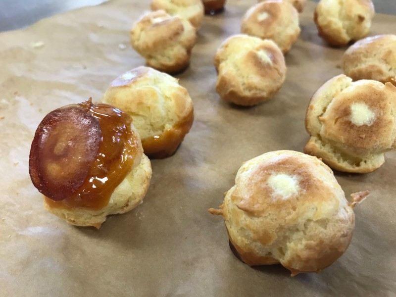 caramel coated cream puffs