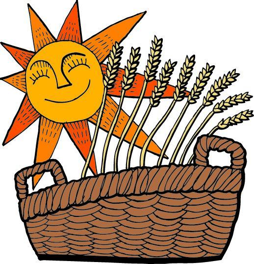 cartoon with grains and sun