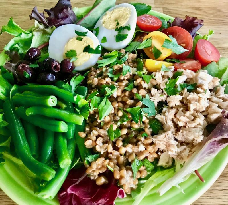 wheat berry nicoise salad